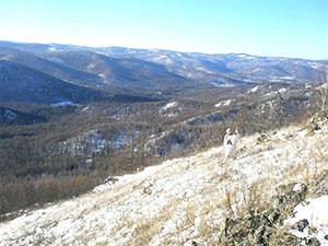 Вид с перевала на зимнюю тайгу